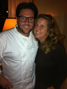 (Celebrity Chef Scott Conant with a very happy Jill Weinlein)