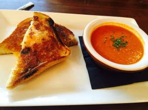 Flintridge Proper creamy tomato & basil soup with grilled cheese - by Jill Weinlein