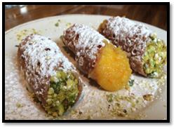 (Cannoli with Homemade Cannoli Shells, Ricotta Filling, Orange Marmalade and Pistachios - Photo by Factory Kitchen)