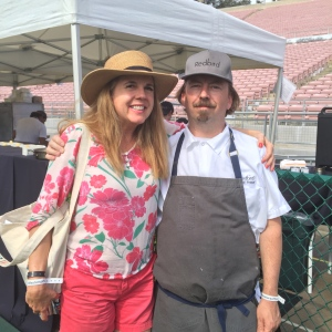 Jill Weinlein with Neil Fraser Redbird while making Ricotta Gnudi with guanchale & spicy tomato sauce.