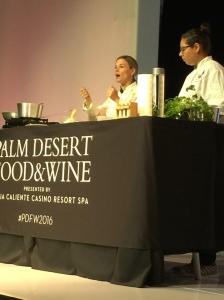(The talented Cat Cora with assistant Jessica Rodriguez - Photo by Jill Weinlein)