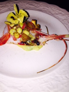 Spot shrimp with plums - Photo by Jill Weinlein