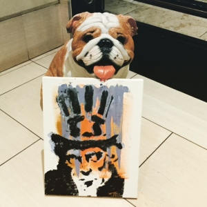 My piece with The London Hotel's bulldog. Photo by Jill Weinlein