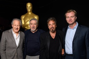 "Producer and director Michael Mann (left) came together with actors Robert De Niro and Al Pacino for a discussion about the 1995 film ""Heat."" Oscar nominee Christopher Nolan (right) moderated the forum. (photo by Todd Wawrychuk/©A.M.P.A.S.)"