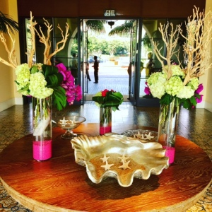 Even the floral arrangements offer touches of pink - Photo by Jill Weinlein