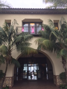 Pink Ribbons above the entrance of the lobby doors at Terranea - Photo by Jill Weinlein