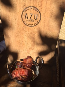 Bacon wrapped dates at Azu - Photo by Jill Weinlein