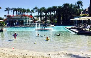 beach, slides and warm water keep families at the pool all day long - Photo by Jill Weinlein